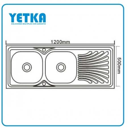 Yetka fregadero yetka est ndar doble para sobreponer - Dimensiones fregadero ...