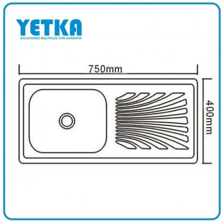 Yetka fregadero yetka est ndar 75cm para sobreponer for Dimensiones fregadero
