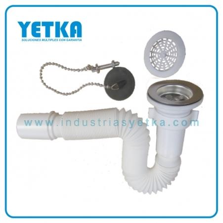 Yetka sif n flexible para fregadero con desag e - Sifones para lavabos ...