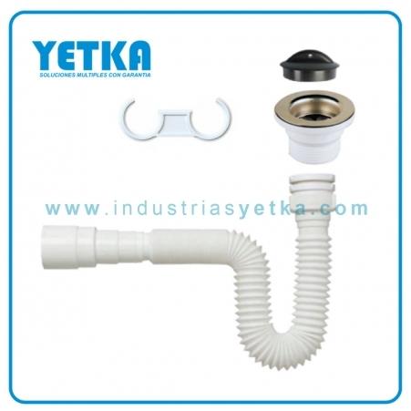 YETKA | Sifón flexible premium con desagüe para lavabo